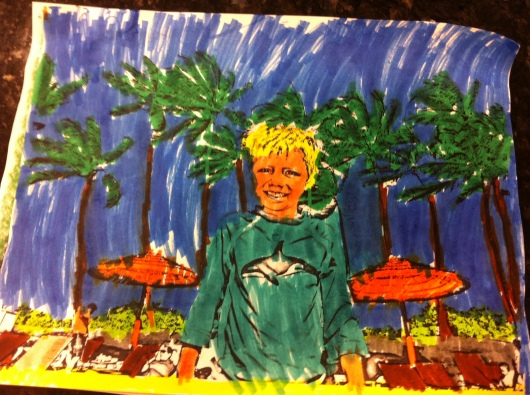 T in Hawaii. Colored.
