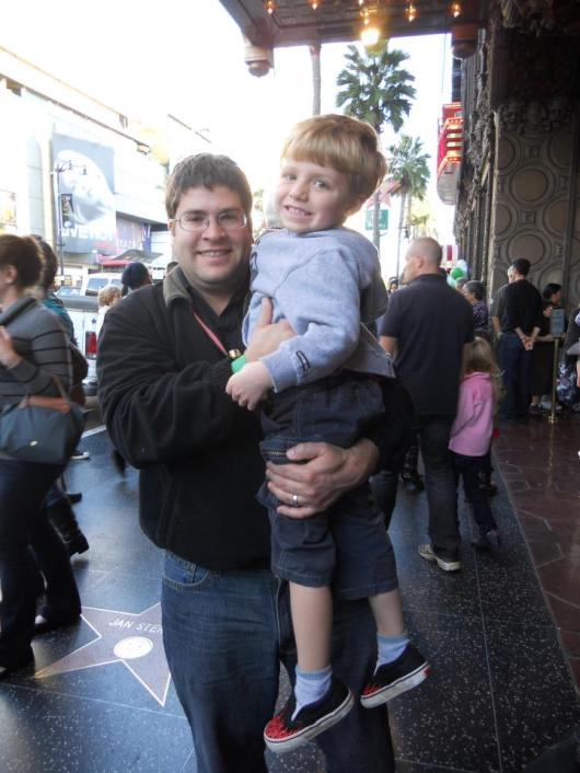 T with Uncle Z outside of the El Capitan Theatre in 2011.