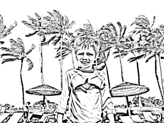 T in Hawaii. The Coloring Page.