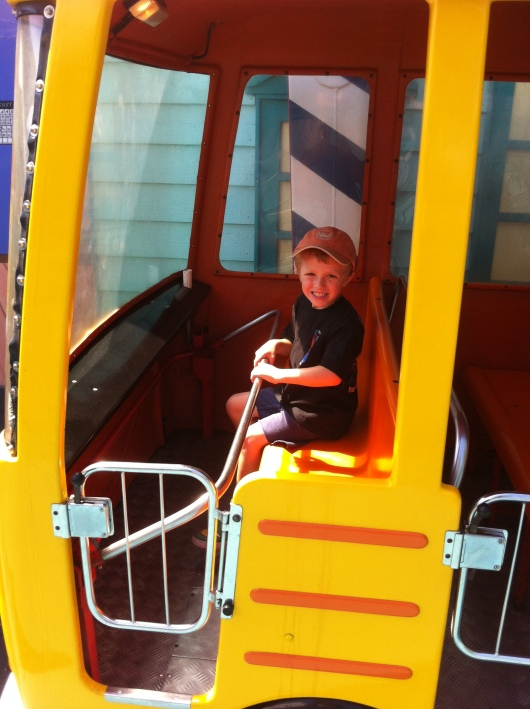 T on the Crazy Bus at Adventure City.