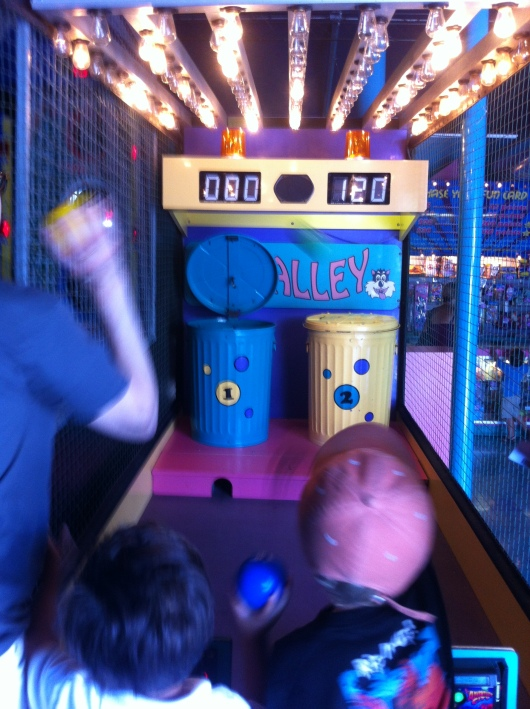 The boys wrapped up their visit together inside of the arcade.