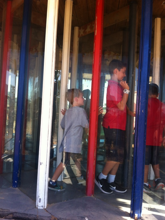 T always manages to find some kids to pal around with at Pa's. Though these boys I think were trying to lose him in the Castle of Mirrors....