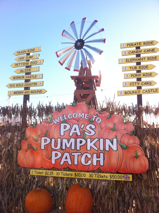 "The entrance at Pa's Pumpkin Patch. Listed here are the various ticket prices, including ""bulk buys"" and how many tickets each ride takes to help you plan your outing."