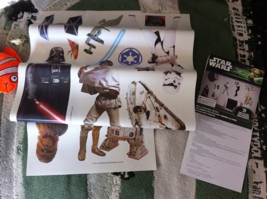 "The ""Star Wars"" set of RoomMates wall decals we gave T for his birthday. We bought them on amazon.com for around $10."