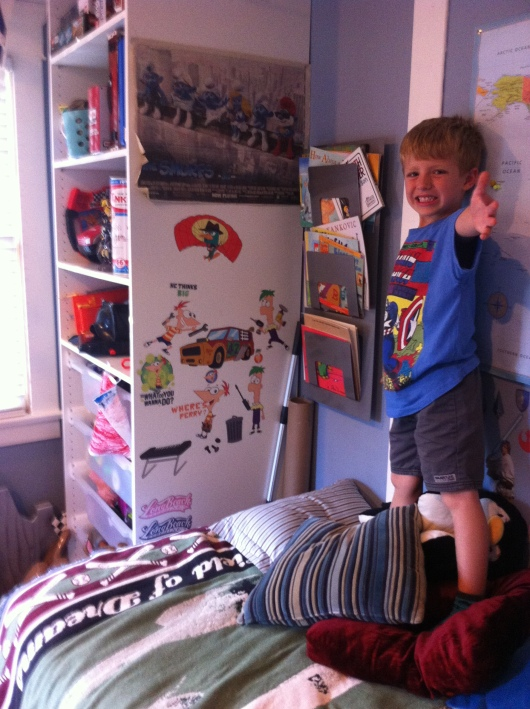 Ta-da! T's finished with his third room re-do, all made easy and fun thanks to RoomMates wall decals.