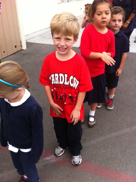 Kindergarteners at T's school got to dress in red last Monday to raise awareness during Red Ribbon Week 2013.