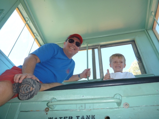 The boys up top in the caboose!