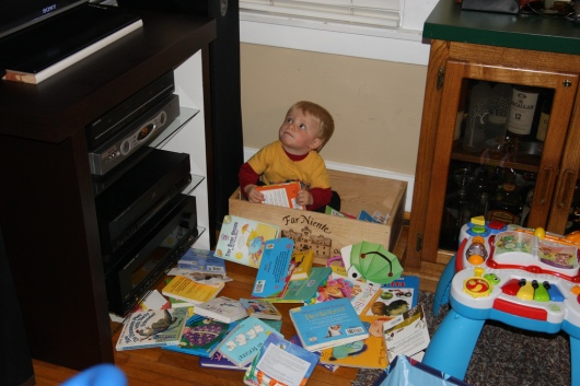 T in a book box long before he actually made one for school.
