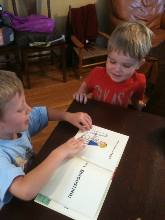 "On a play date a couple of summers ago, T had to ""read"" (recite really at that time) his friend one of his favorite books, ""That's Disgusting."" It was disgustingly cute."