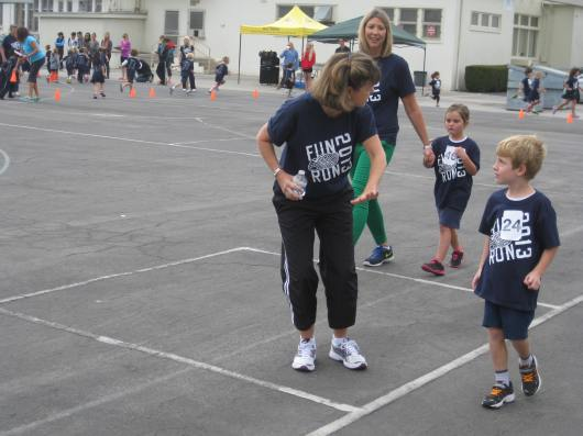 T caught up with his teacher during his jog-a-thon!