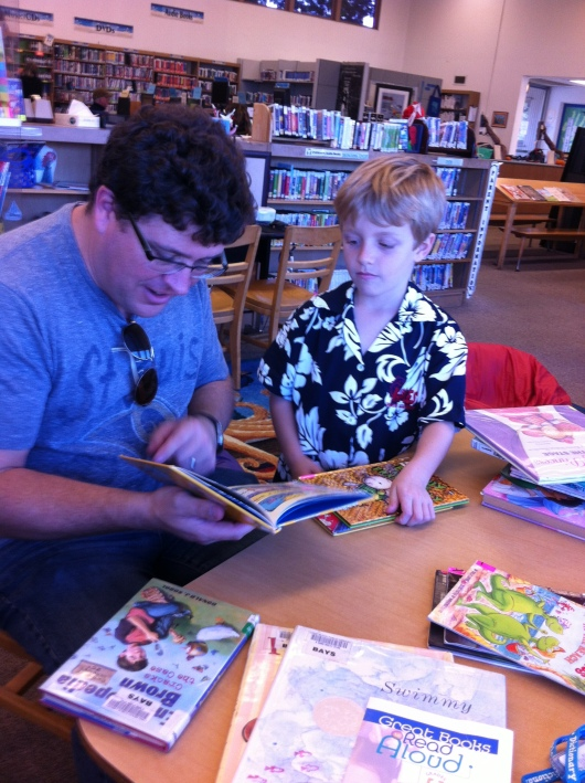 C and I took T to the library the other week. They discovered a new section with books that appeal to budding readers. Read on, guys!