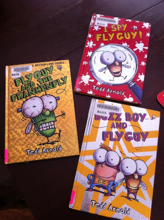"T's recently discovered the ""Fly Guy"" series of books, all thanks to our local library."
