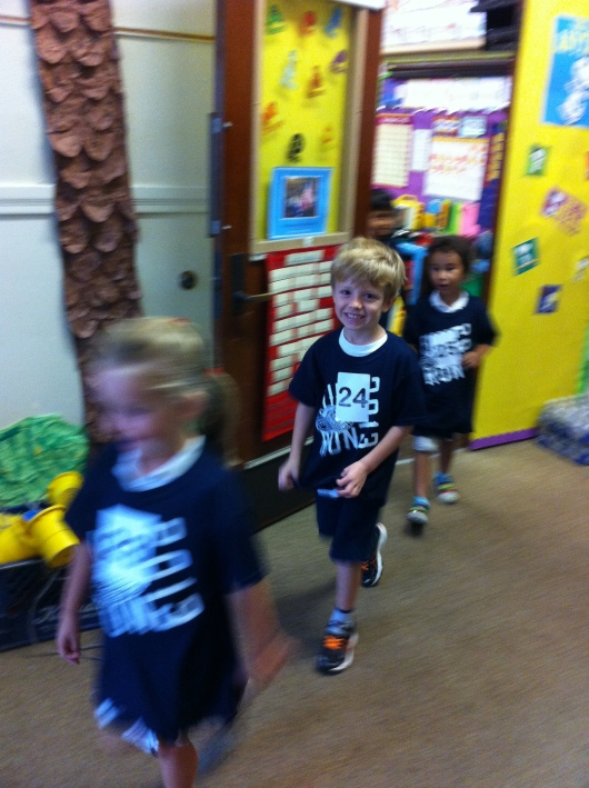 T and his class make their way out to the playground for their annual jog-a-thon!