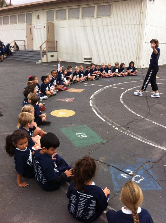 Mrs. K warms up the class with an explanation of how a jog-a-thon runs.