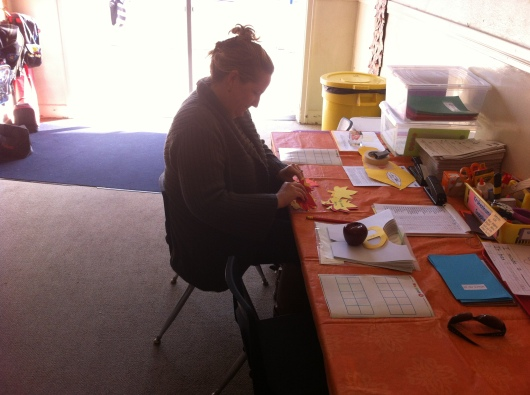 Here I am working on our organizing our classroom's Thankful Thoughts for the school's Thankful Tree.