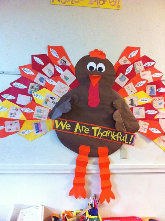 "T's class' ""Grateful Gobbler"" just outside of his Kindergarten classroom."