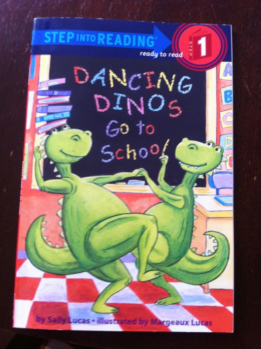 "In June 2013, T read his first book to us independently aloud. It was, ""Dancing Dinos Go to School."""