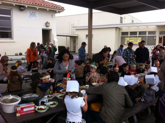 It takes a lot of patient teachers and parents to pull off a Thanksgiving feast for 60-ish Kindergarteners!