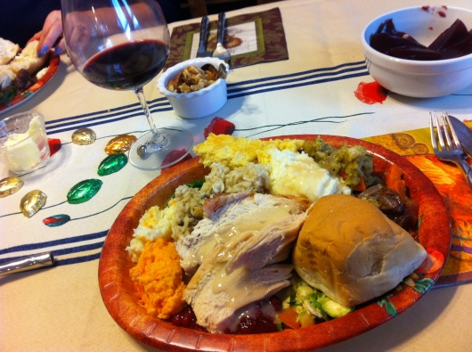 My Thanksgivukkah plate. More Thanksgiving than Thanksgivukkah menu-wise on Thanksgiving day here, but we were still celebrating both events in spirit.