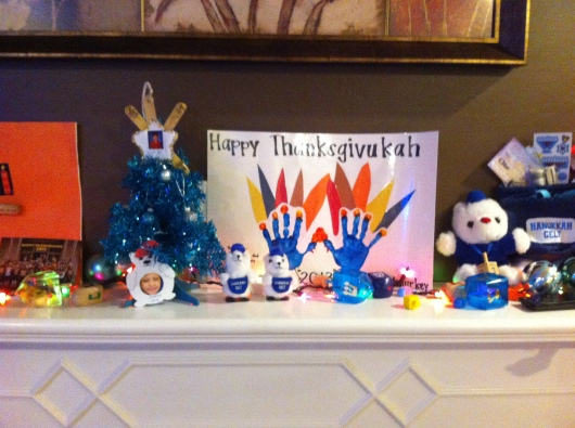 "Part of my friend's Thanksgivukkah mantle. I love the ""Menurkey,"" don't you?!"