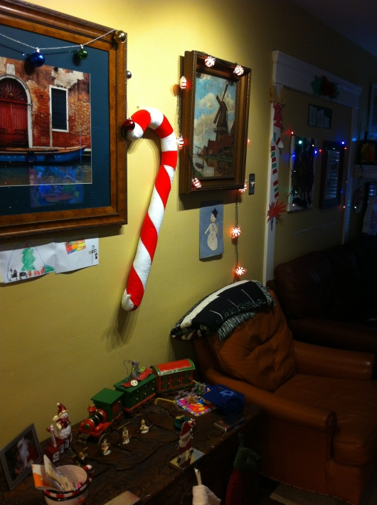 Yeah, that candy cane didn't stay up above the door frame. Thanks for trying though, C!