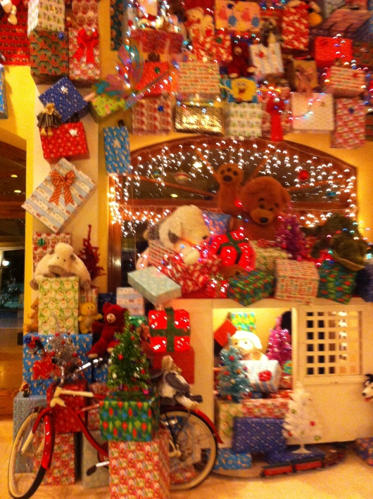 "I call this, ""Toys for Tots."" Really though it's just the lobby at the Santa Ynez Valley Marriott all dressed up for Christmas!"