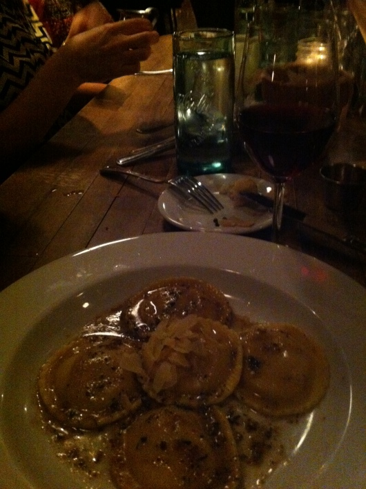 My butternut squash ravioli with some sort of rendered bacon brown sugar and browned butter sauce (!). No sense eating vegetarian without bacon, right?