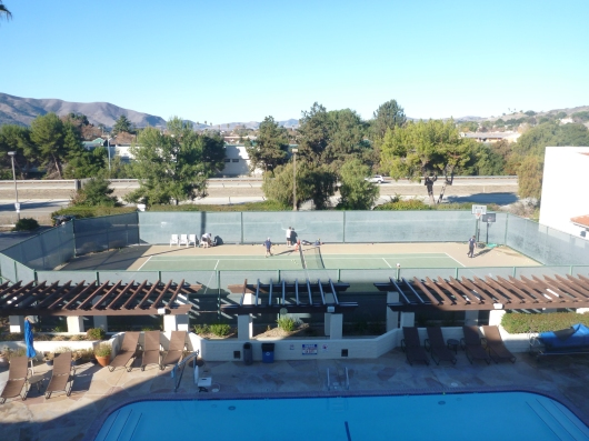 The view from my room. While the pool and tennis court may appear inviting, it was about 40 degrees the morning I took this photo. Nights were equally as chilly. The days though... brilliant.