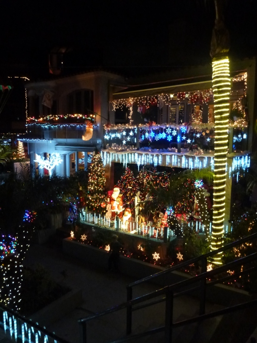 Just one of the more festive homes along Naples Rivo Alto Canal in Long Beach (CA).