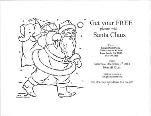 Print this out and have your child color it for a free gift at Emigh Dental Care in Long Beach during their Santa event on Saturday Dec. 7!