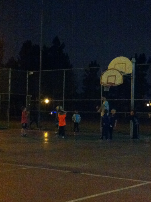 Night practices were our norm this basketball season. This was at around 5:30 p.m. at night in January(!).