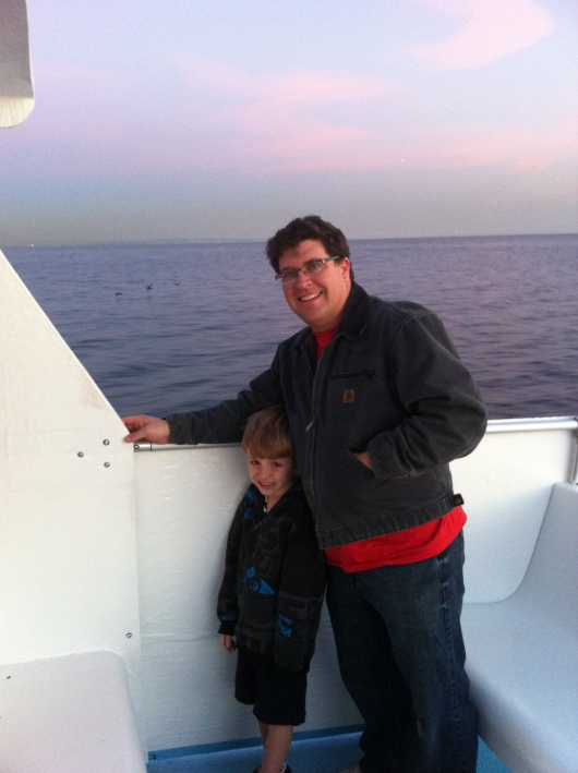 My boys toward the end of our whale watching adventure.