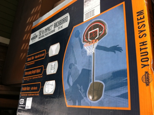 This basketball system (backboard, base, and net adjustable between 6-8 feet) was under $80 (found at TRU online).
