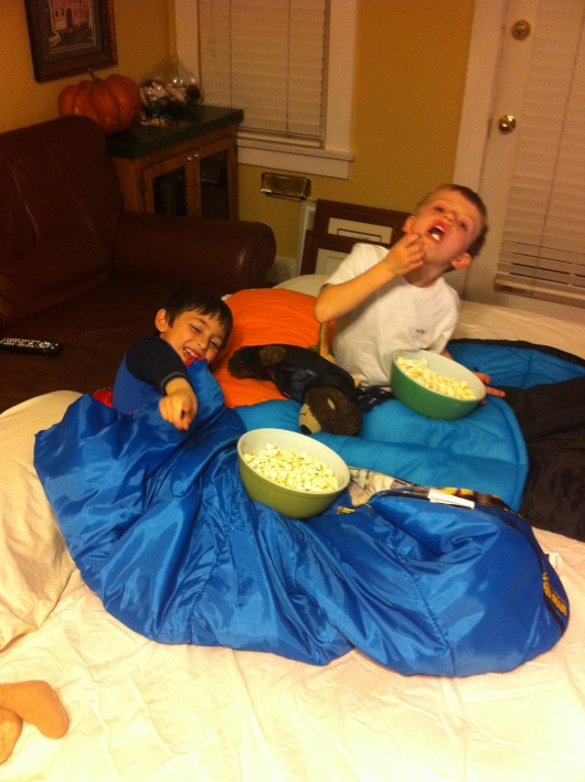Popcorn after pizza... yep, it's a sleepover alright!