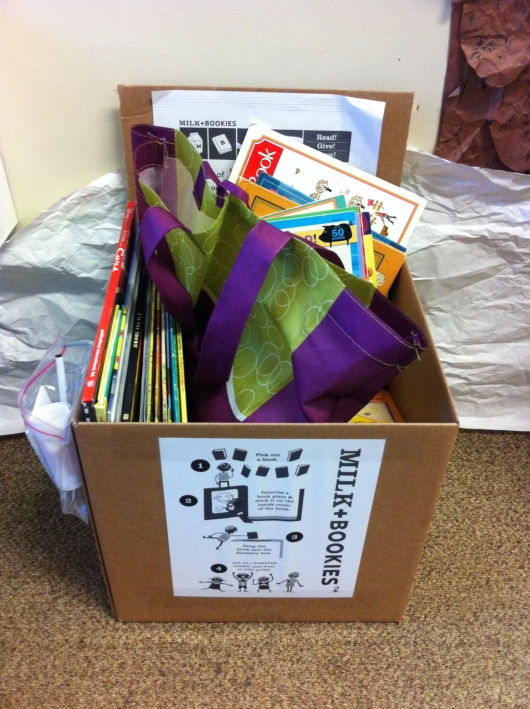 This was our classroom's book box at the end of the first day of donations.