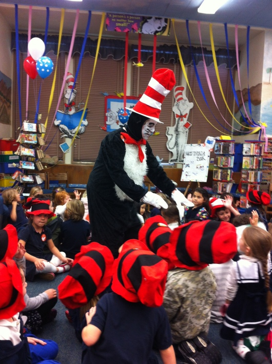 "We had a wonderful ""Cat in the Hat"" volunteer at our school for Read Across America Day 2014."