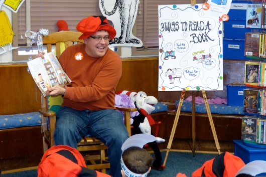 C read to the school's TK class on Read Across America Day.