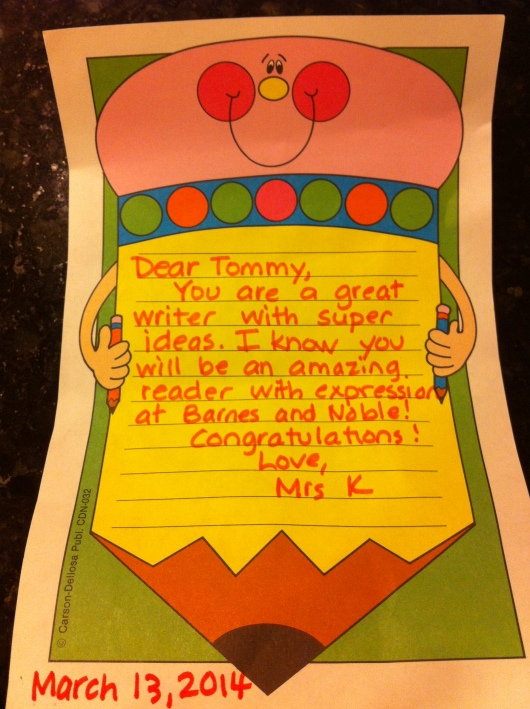 T's teacher sadly couldn't make it to Open Mic Night, but she attached this lovely note to his writing the day of the event.