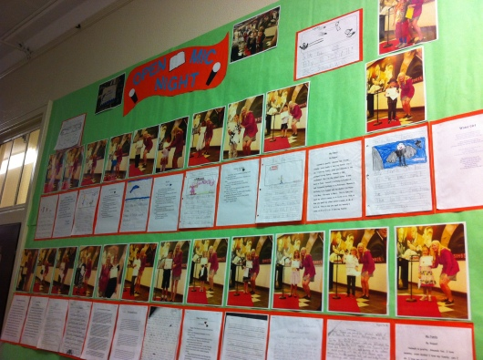 All of the writings have been on display at school as part of the reward for being chosen to participate in Open Mic Night.