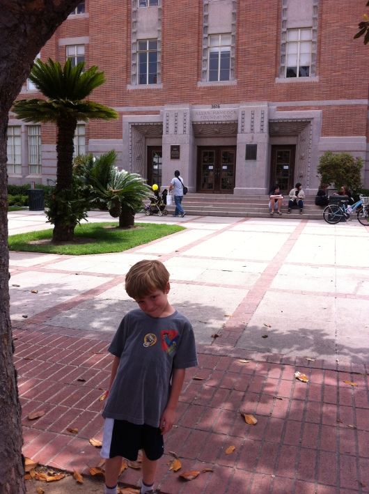 T in front of my former workplace at USC's campus. Memories!