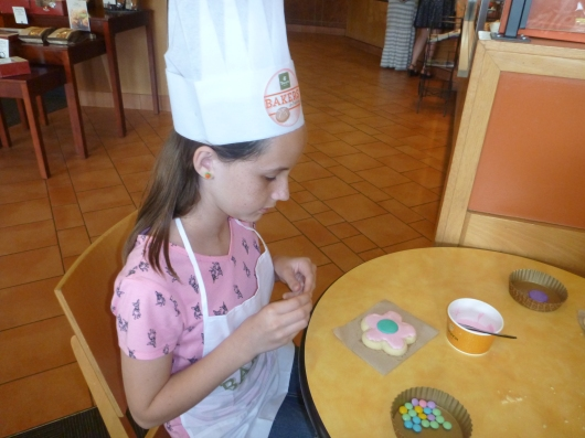 This girl was the oldest of our group (12), and Panera staff were ready to hire her on the spot. Check out her beautiful cookie!