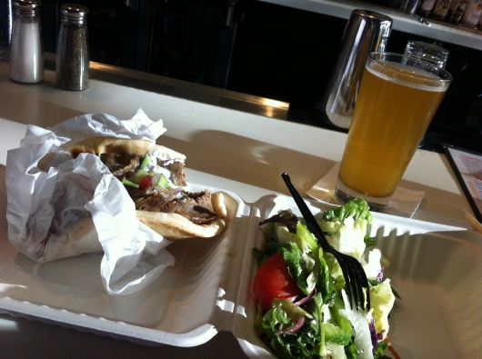 My dinner from George's Greek Cafe air-side of Long Beach Airport (LGB).