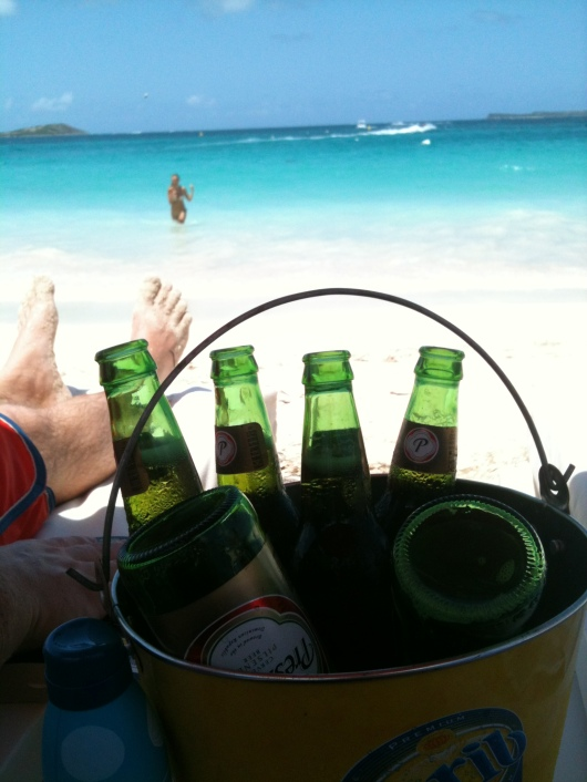 Bucket of beers at Kontiki Beach Club, Orient Beach, St. Martin.