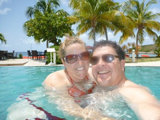 In the horizon pool at the Radisson Blu, St. Martin.