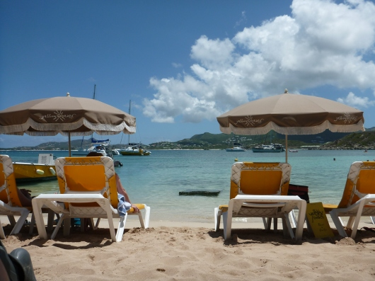 View of St. Martin from Yellow Beach, Islet Pinel.