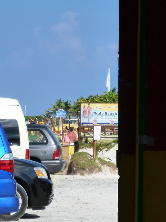 "A peek toward Club Orient, the ""naturalist"" beach of St. Martin."