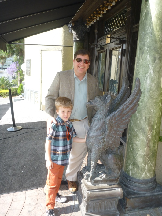 C and T with one of the many gargoyles outside of The Magic Castle.