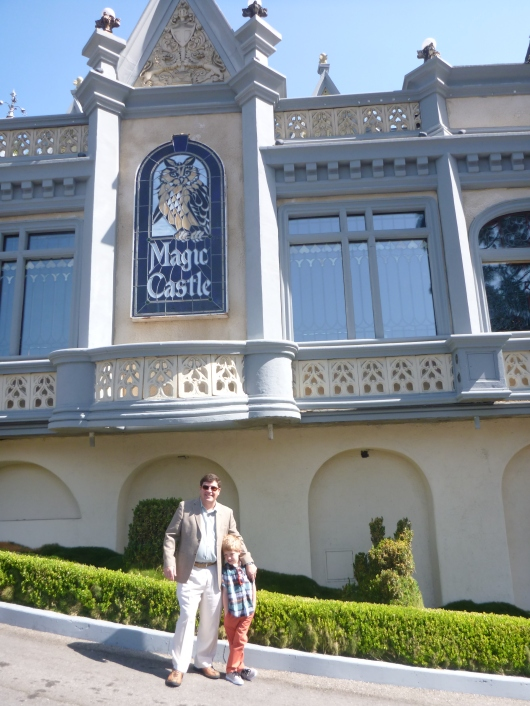 C and T outside The Magic Castle.