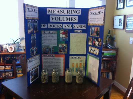 T's finished science fair project display before taking it into school.