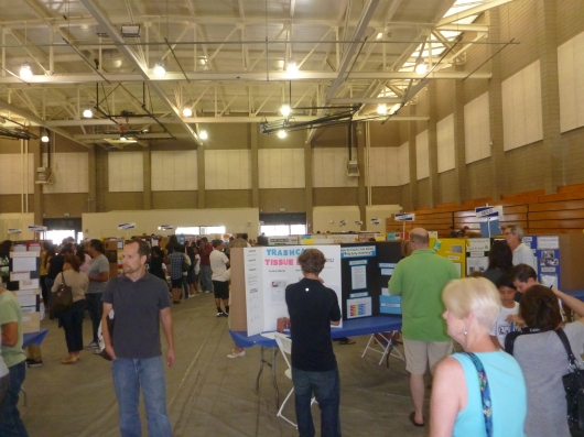 View from the entrance of our exhibit hall (our school in the front row).